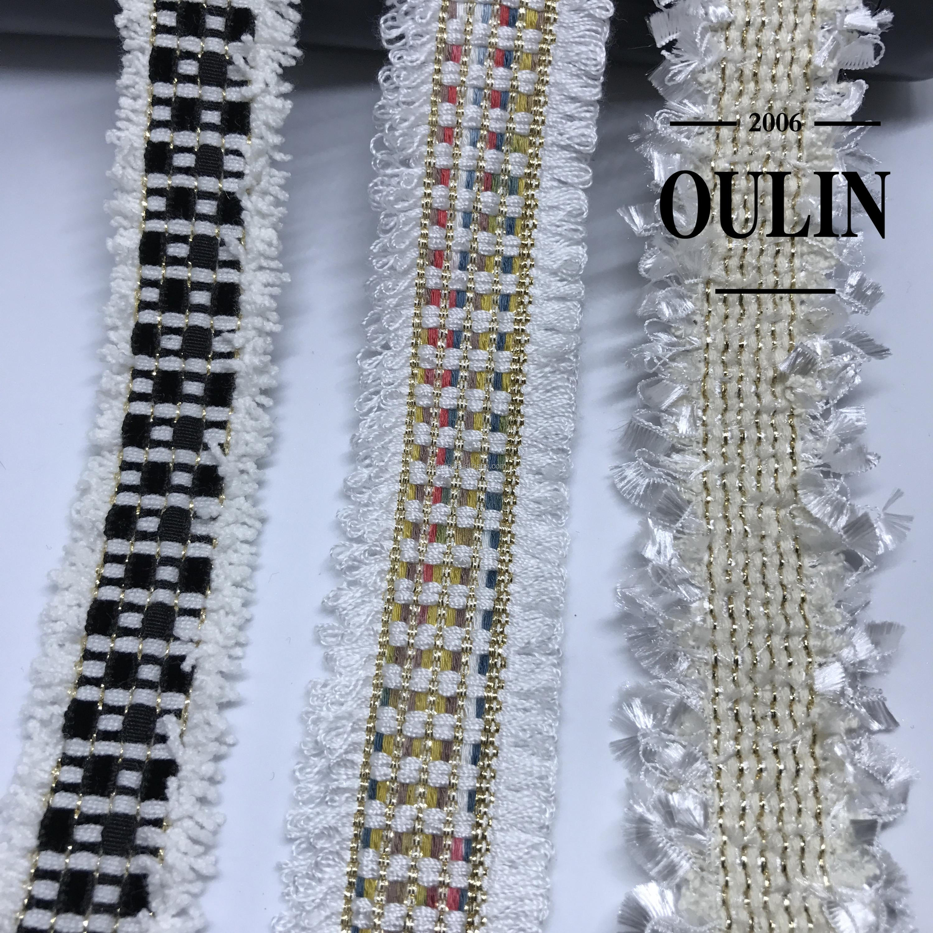 2018 new design ribbon fancy tapes Fashion week hot design Fancy ribbon black ribbon tapes with pearls for winter clothes