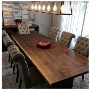 unique custom natural edge wood Rustic modern dining table with metal base