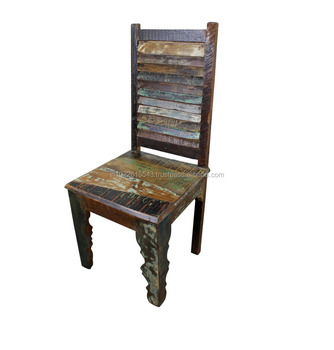 Industrial Antique Rustic Wood Dining Table, Vintage Old Wood Dining Chair