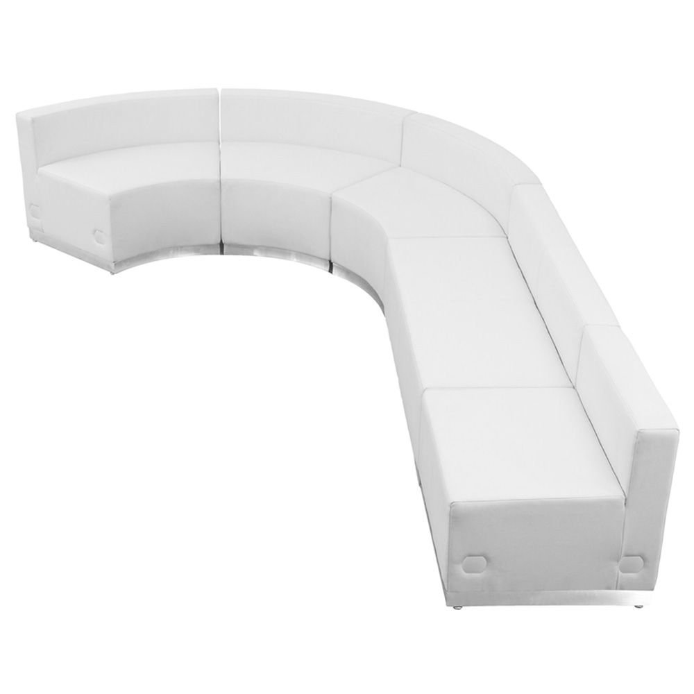 "Alon Series J-Shape Reception Seating in Bonded Leather - Five Piece Set Dimensions: 129""W x 89.50""D x 27""H Weight: 238 lbs White Bonded Leather/Brushed Stainless Steel Base"