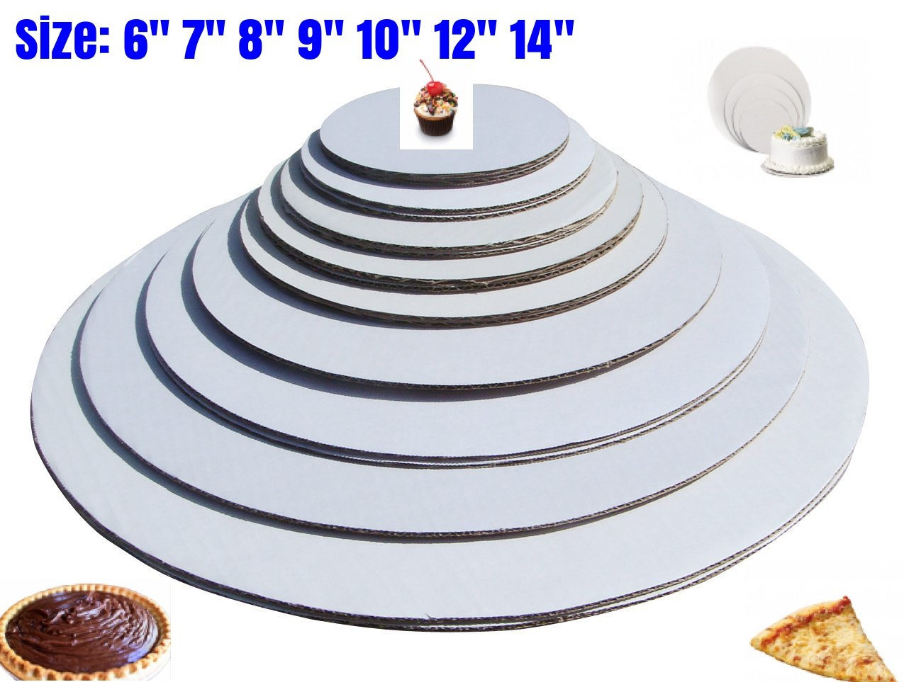 "The Bakers Pantry - cake circles-, Sturdy White Corrugated Cardboard, 100% Food Safe (6"", 7:, 8"", 9"", 10"" 12"", 14""- 4 of Each)"