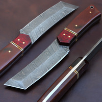 Hand Crafted Damascus Steel Tanto Knife, Hunting Knife