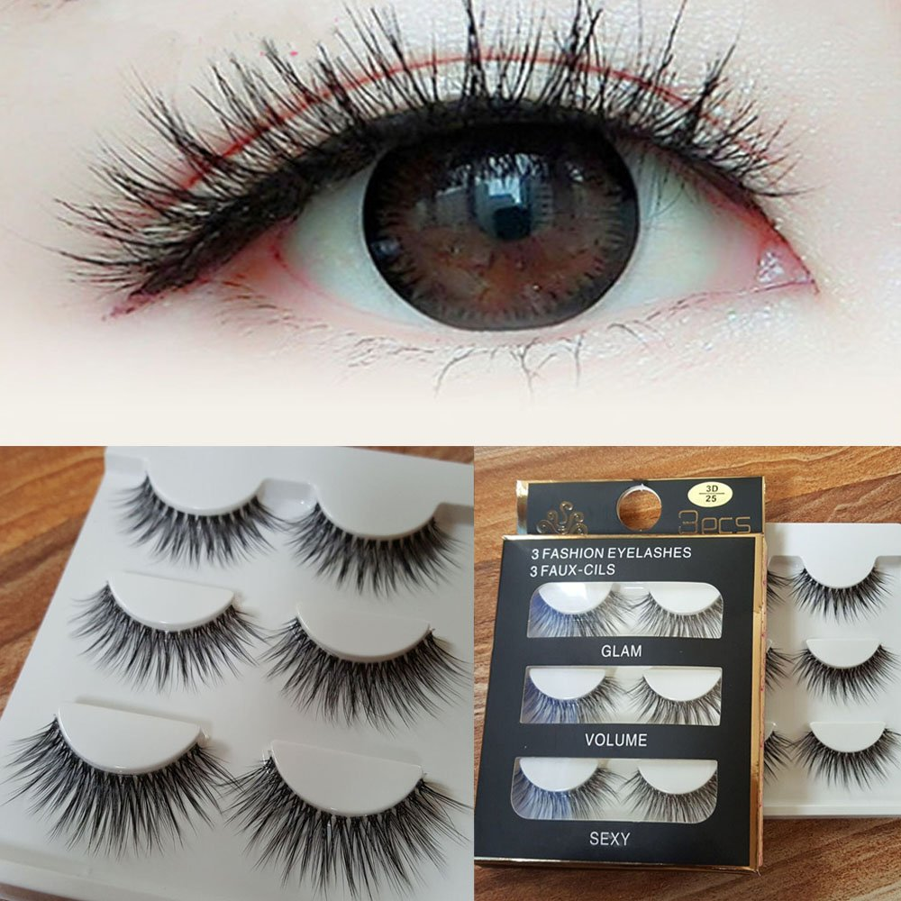 905decd6b53 Get Quotations · Fake Eyelashes Fake Eyelashes Pack - 3 Pairs New Women  Ladies Natural Makeup Handmade Thick Long