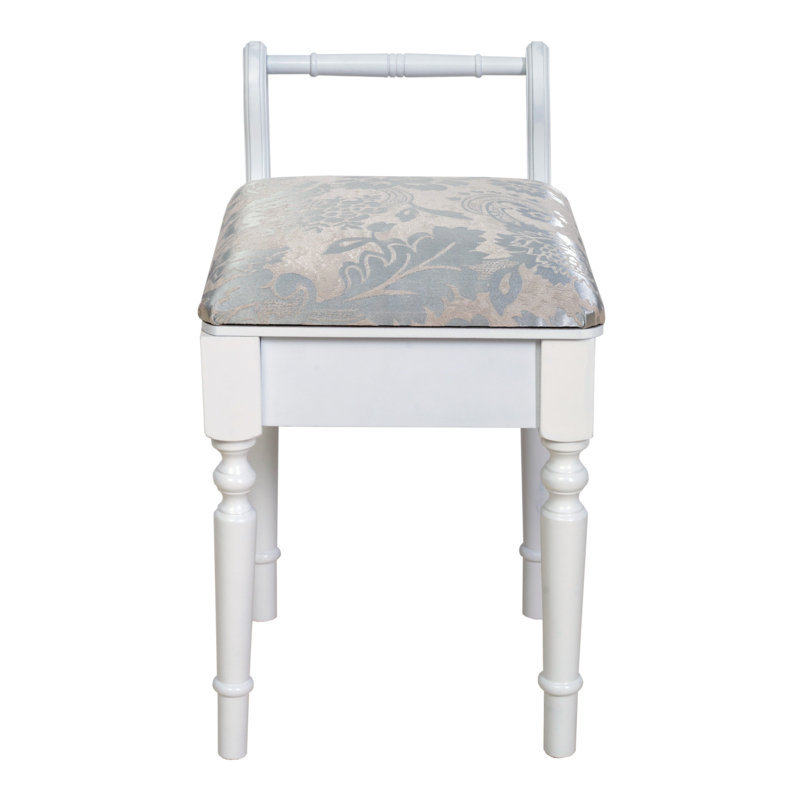 Stool Seat White Lined Baroque Classic Style Dressing Table Seat Piano Musicroom