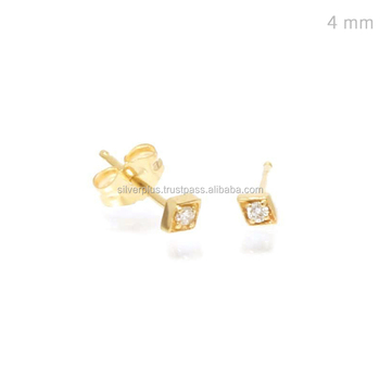 0c79985fec986 Natural Diamond 14k Gold Single Stone 4 Mm Stud Earrings - Buy Diamond Stud  Earrings,Single Diamond Earrings,Single Stone Earring Designs Product on ...