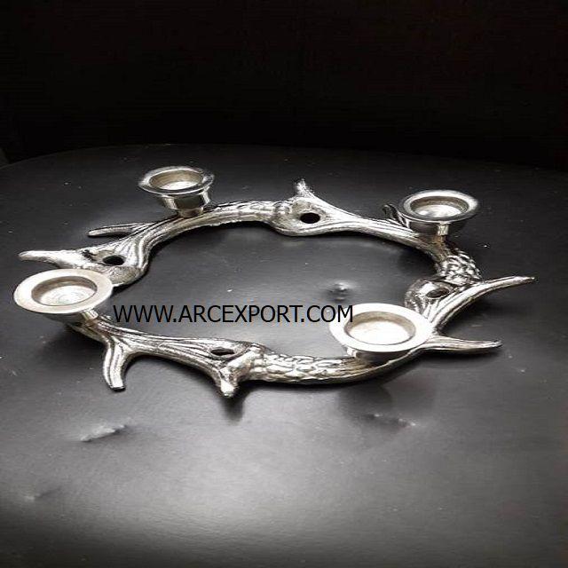 Impresionante Metal Cromado Plata 3 Sostenedor De Vela Candelabro Ciervo Ciervo Diseño