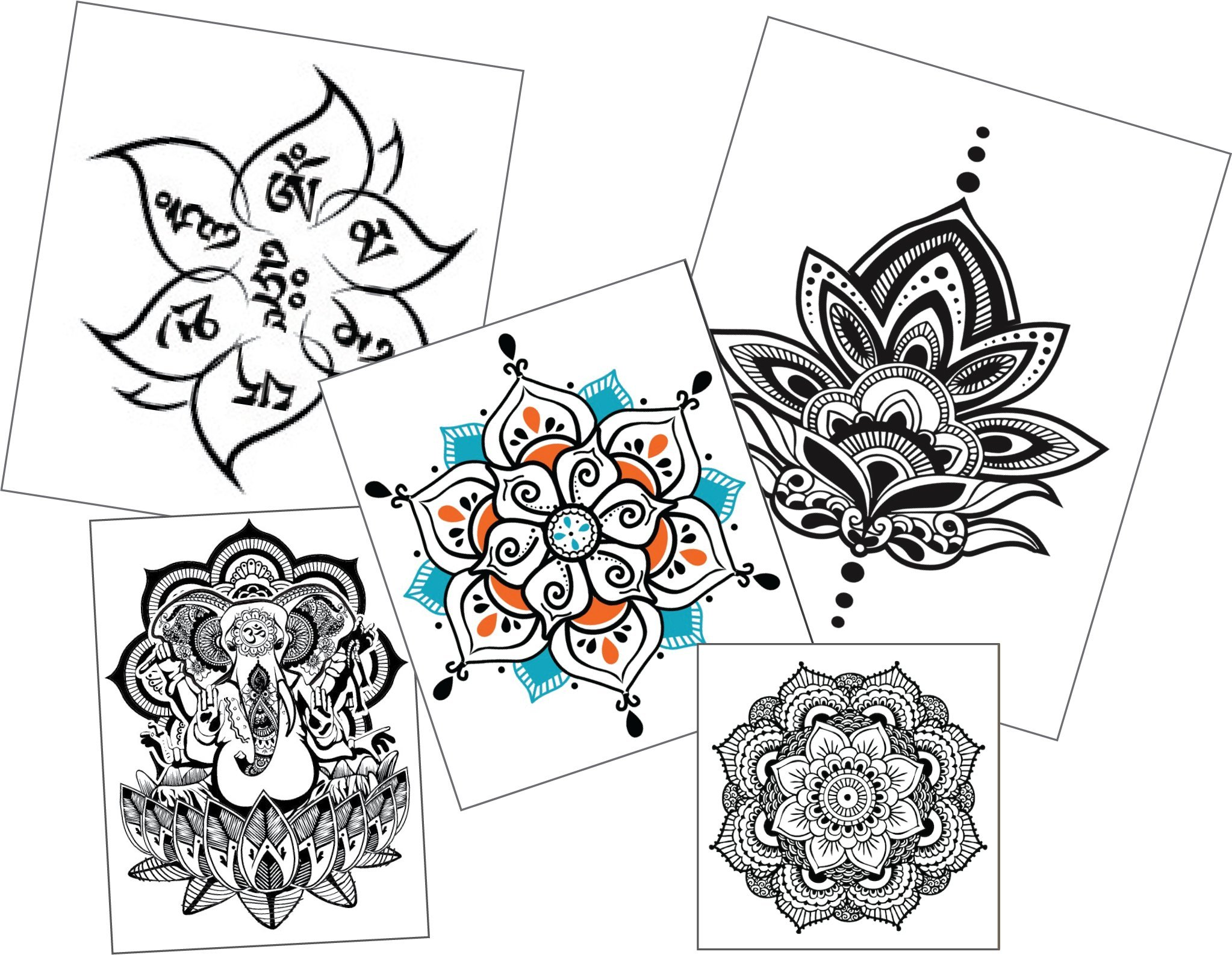 Cheap lotus mandala tattoo meaning find lotus mandala tattoo get quotations large mandala temporary tattoo set body art yoga accessory birthday party gift izmirmasajfo