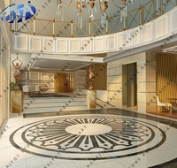 white marble polished round inlay architecture design