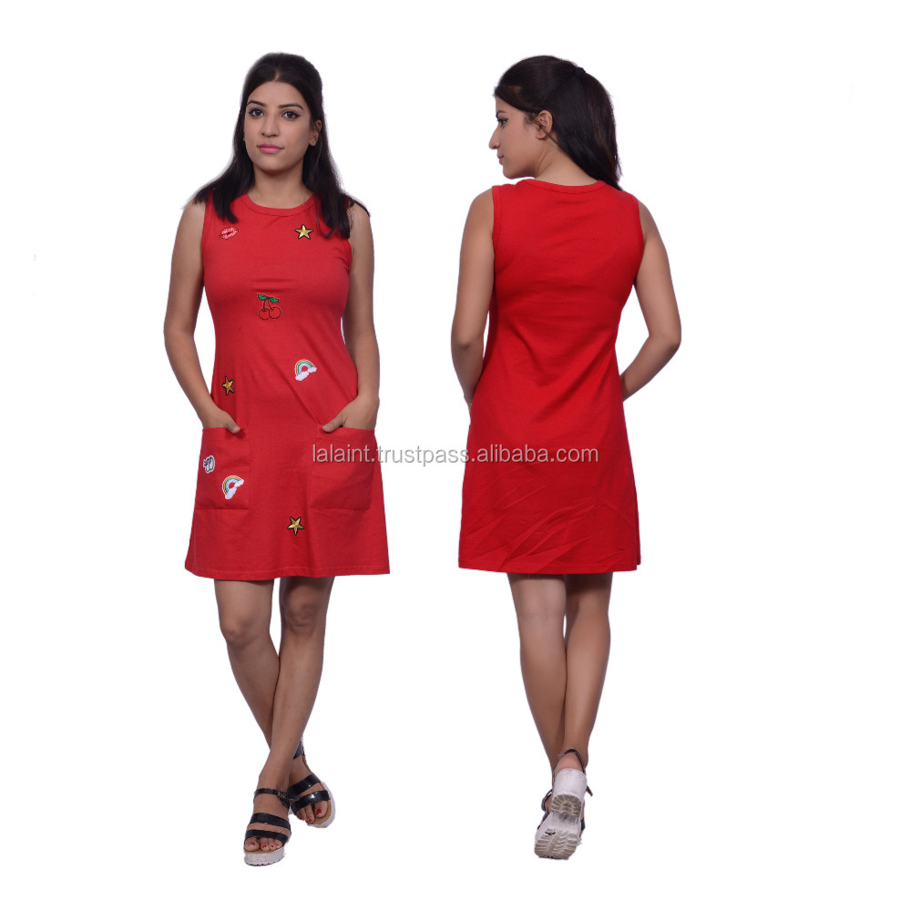 latest design red cotton casual short dress