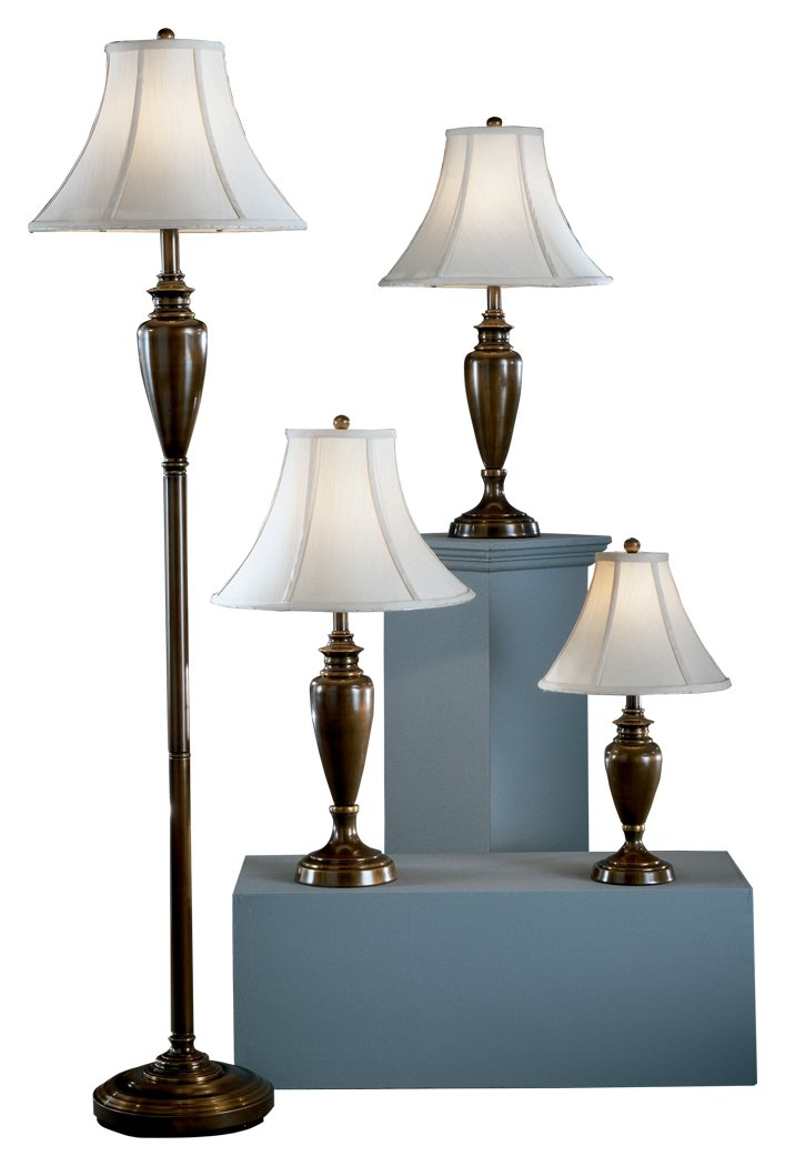 Ashley Furniture Signature Design - Caron Collection Lamp Set - Set of 4 - Floor, Accent & 2 Table Lamps - Brass Finish