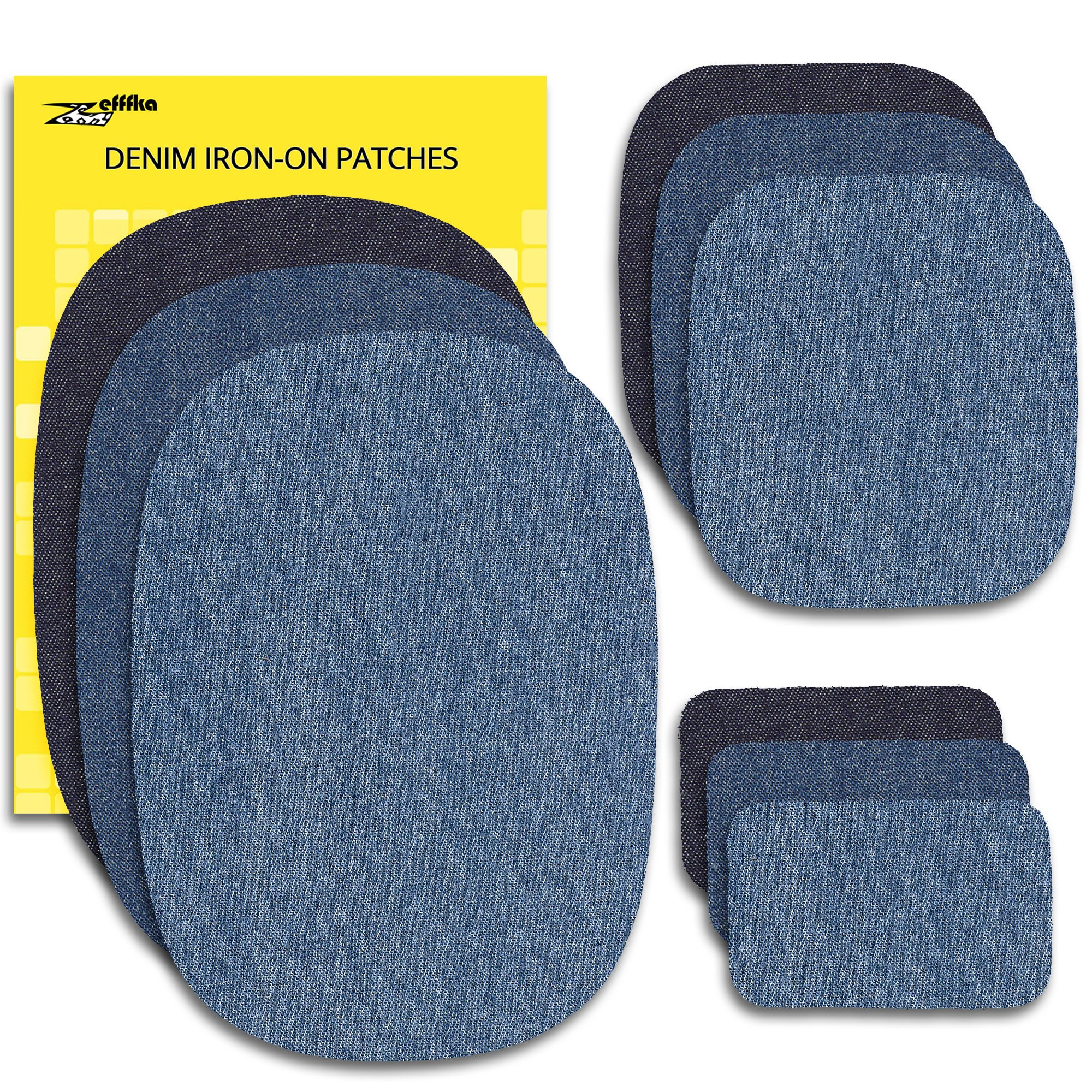 Zefffka Denim Iron On Jean Patches No-Sew Shades Of Blue 9 Pieces Assorted Cotton Jeans Repair Kit Different Sizes
