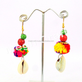 Handmade Pom Earrings Antique Designer Shall