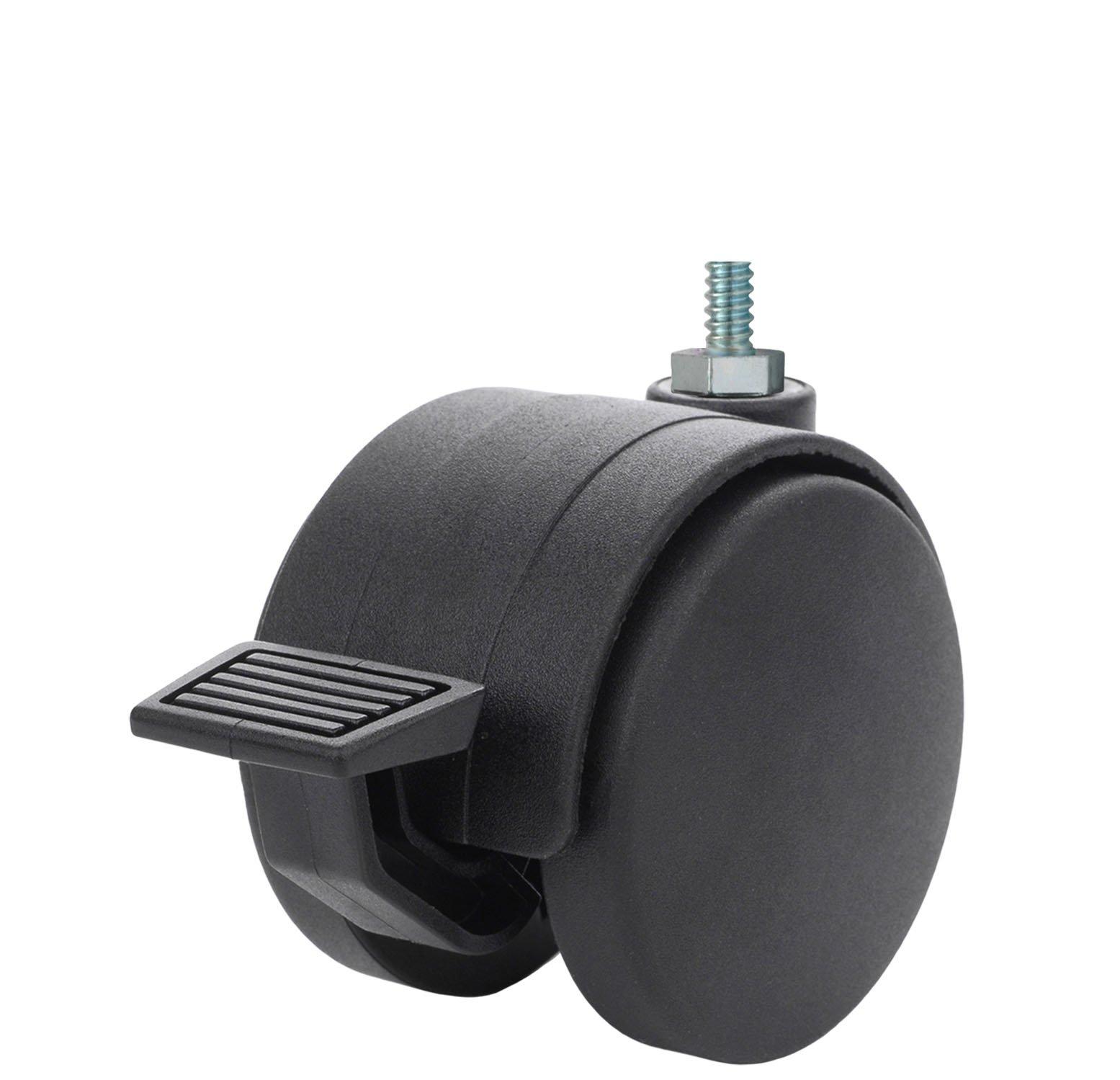Twin Wheel Caster Solutions TWHN-50U-M23-BK-B 2 Diameter Nylon Wheel Hooded Brake Caster 110 lb Capacity Range 8 mm Diameter x 25 mm Length Threaded Stem