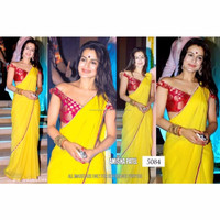 Exclusive Indian Latest Yellow Colored Designer Saree
