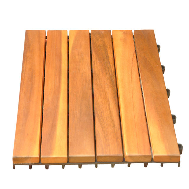 Interlocking Outdoor Deck Wood Tile Garden Solid Acacia Flooring With Plastic Base Teak