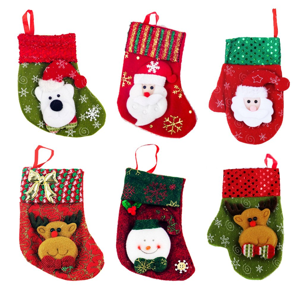 Zhihu Set of 6 Various Styles Stockings for Santa Christmas Santa's Stockings Gifts Baskets Candy Holiday Candy Gift Bag and Treat Bags On Christmas Xmas Party Decorations for Christmas Gifts(Small)