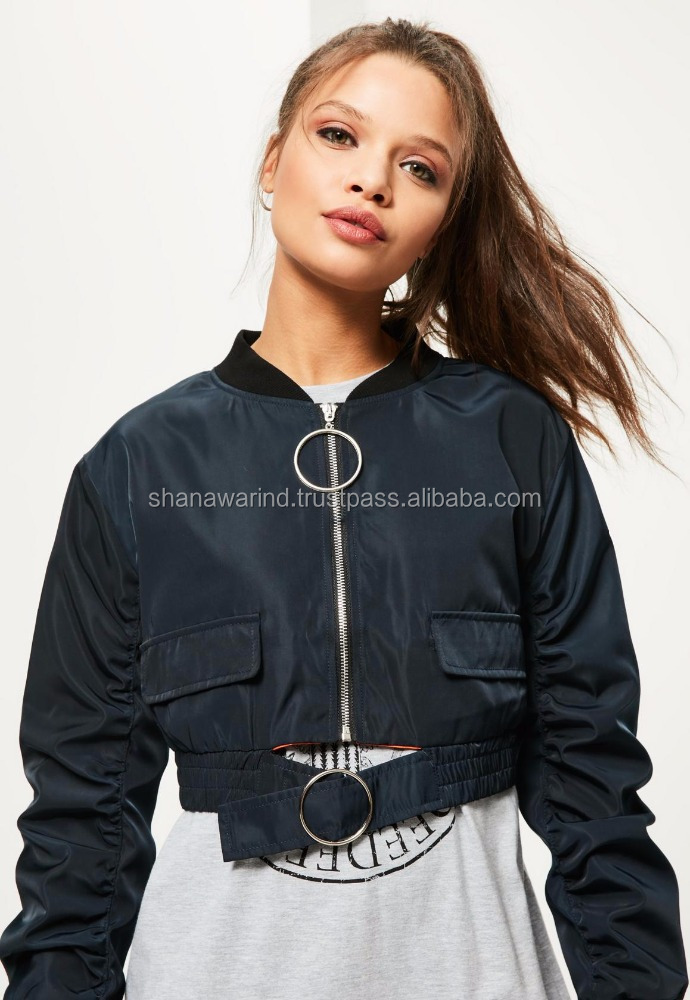 Exclusive Navy Oversized Ring Pull Crop Bomber Jacket/Zip Up Crop Bomber Jacket