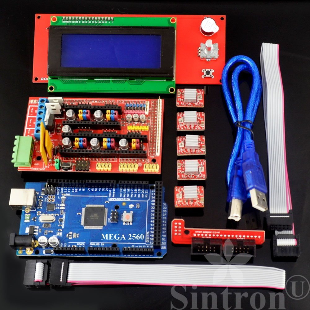 RAMPS 1.4 Controller 5pcs Heat Sinks 19pcs Jumpers with USB Cable For Arduino RepRap 3D Printer Kit 5pcs Soldered A4988 Stepper Motor Drivers MEGA2560 R3 board