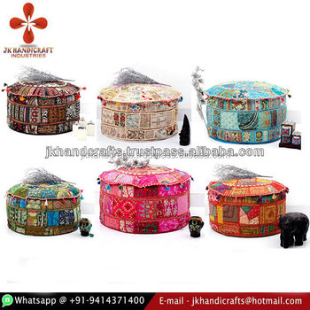 Indian Bohemian Patchwork Ottoman Cover Indian Beaded Ottoman Pouf Interesting Indian Pouf Covers