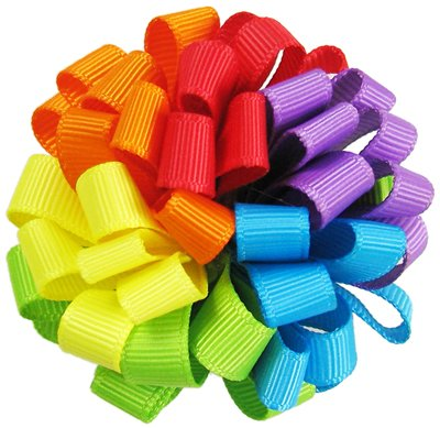 "2pc HipGirl Boutique 2.5"" Girls Ribbon Loopy Puff Hair Bow Clips/Barrettes (Rainbow)"