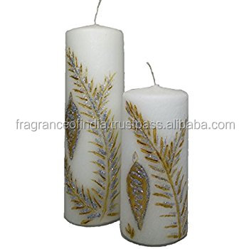 Decorative Pillar Floral Handmade Natural Candles - Buy Pillar