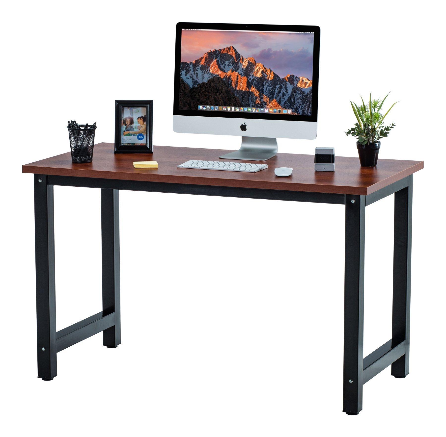 "Fineboard 47"" Stylish Home Office Computer Desk Writing Table Elegant & Modern Design, Teak/Black"