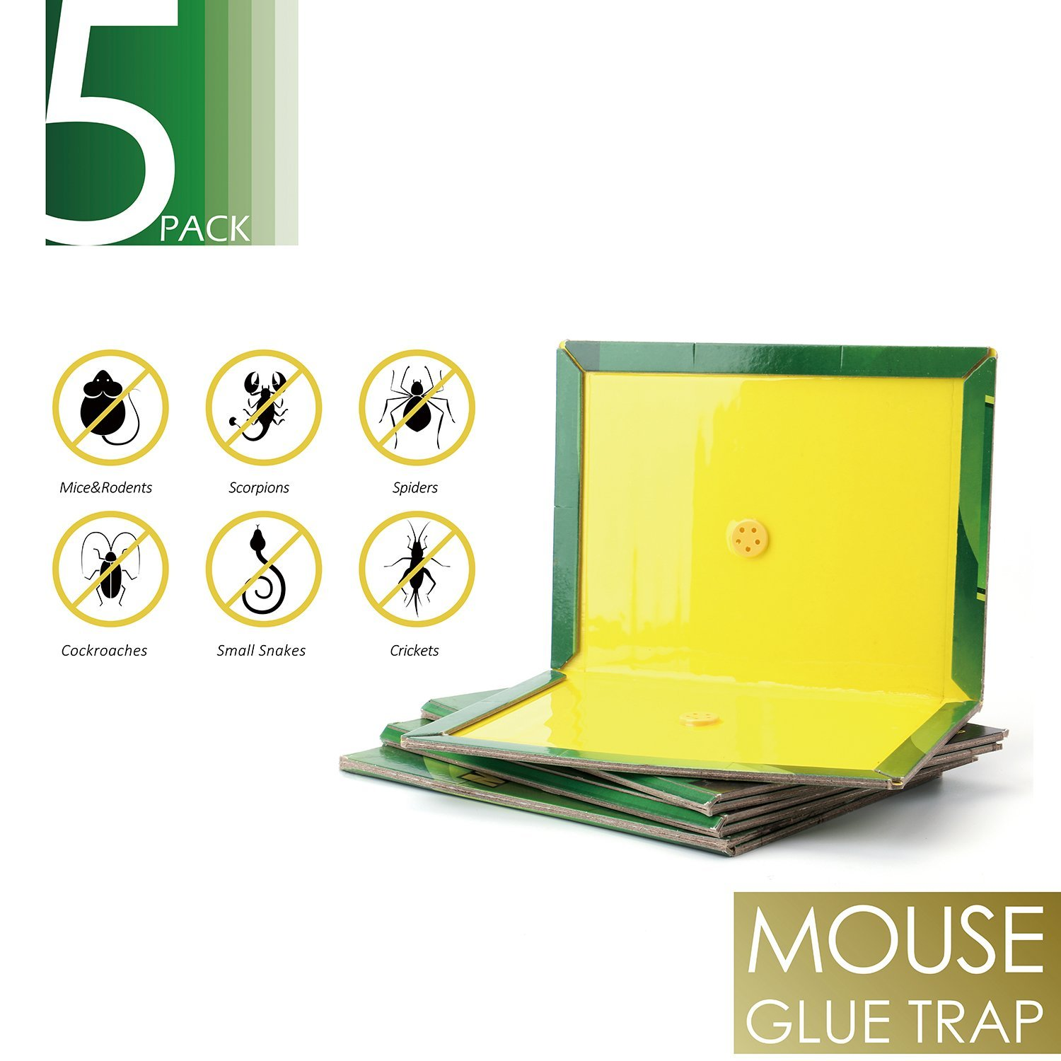 Mouse Glue Trap-5 Pack Rat Killer and Insect Sticky Board Catch with Pre-Baited Peanut Butter Scented,Insecticide Free Pest Control for Mice & Rodents & Cockroaches & Bugs & Ants & Spiders