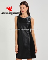 excellent black women straps hollow out neck ruffle hem fitted leather dress,Short Sleeve Lambskin Leather Dress,