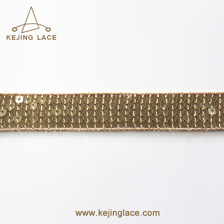 Shinny Lace Tape Type Silver Sequin Lace Trim