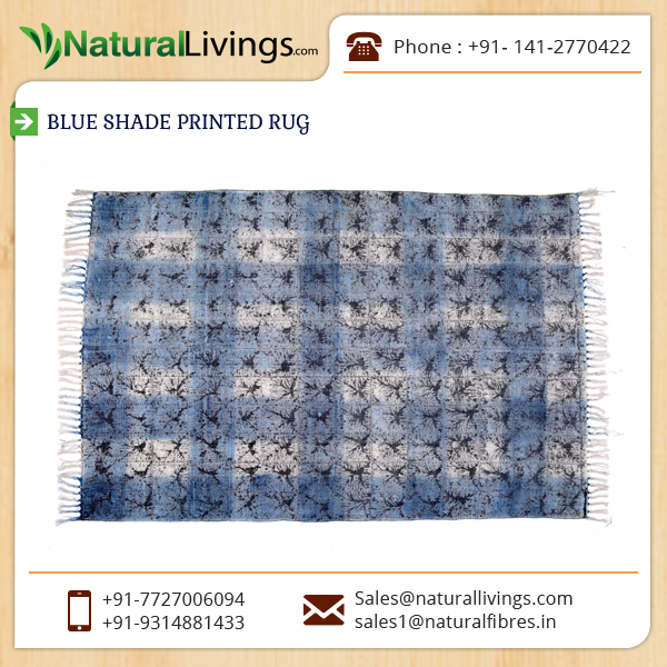 Soft Texture Widely Demanded Blue Shade Printed Rug at Reasonable Price