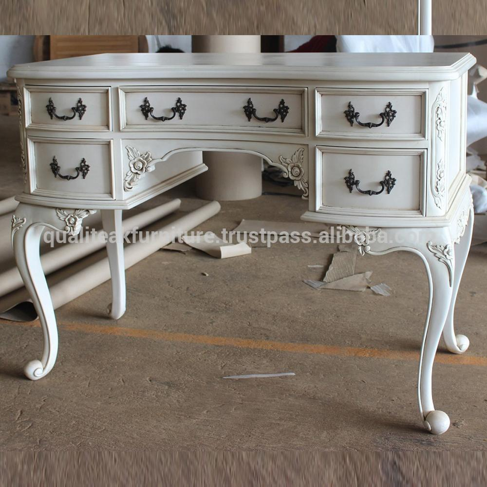 Antique White Paint Mahogany Writing Desk With 6 Drawers - Antique White Paint Mahogany Writing Desk With 6 Drawers - Buy Solid