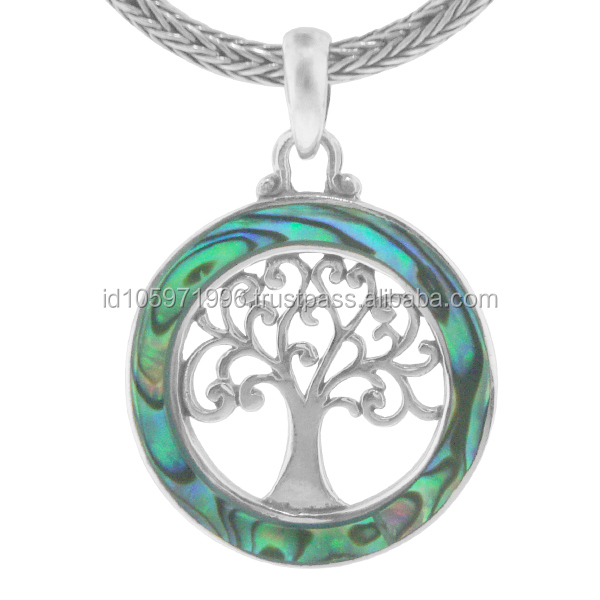 Tree of Life Abalone Ciondolo In Argento