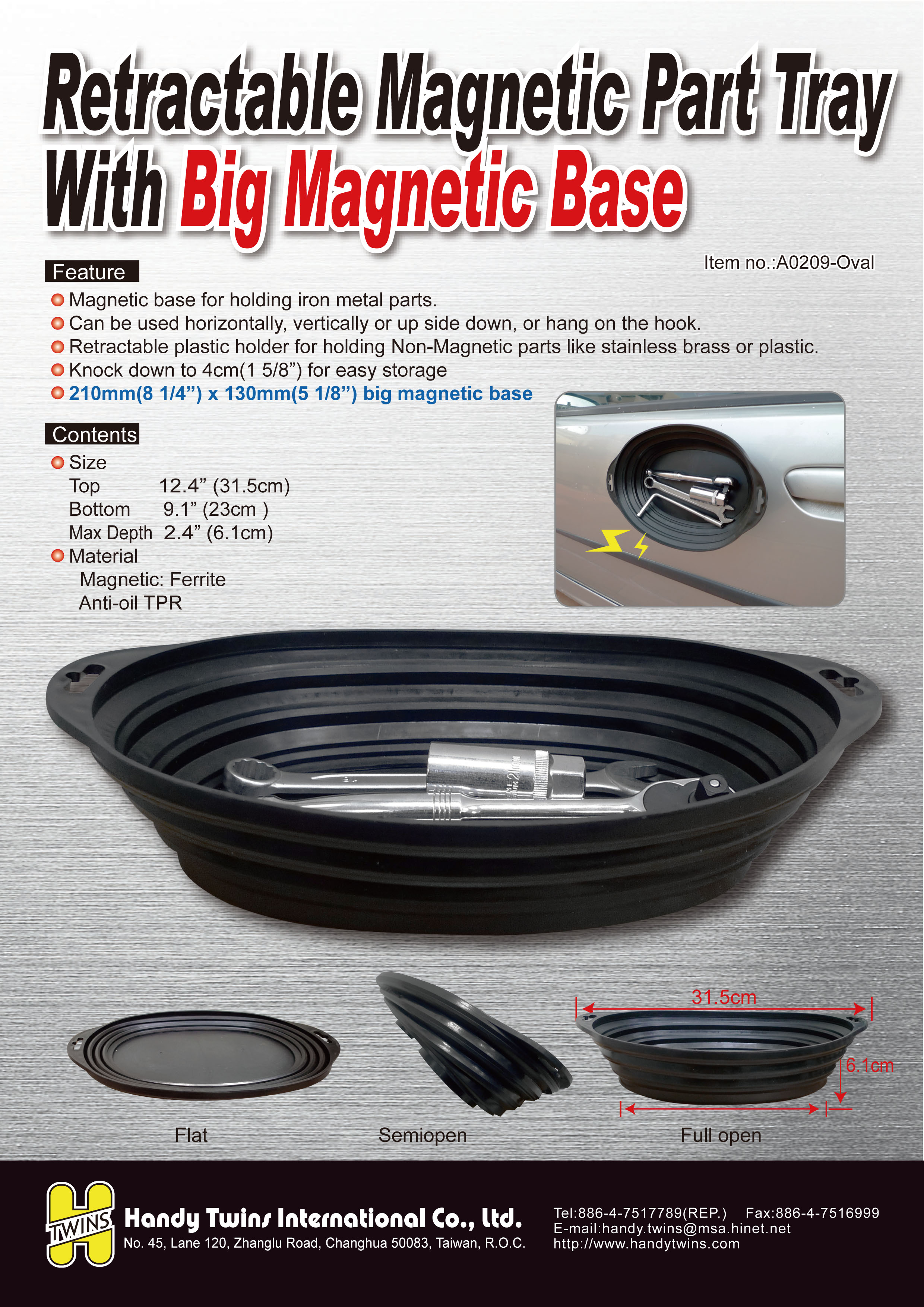 High quality Oval Foldable Retractable Auto repair Tool Trolley Magnetic  Part Tray Made in Taiwan, View Magnetic Part Tray, Handy Twins Product