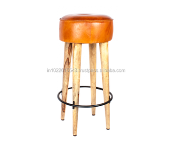 Wooden Bar Stools With Leather Seats Brown Round Backless Bar Stools