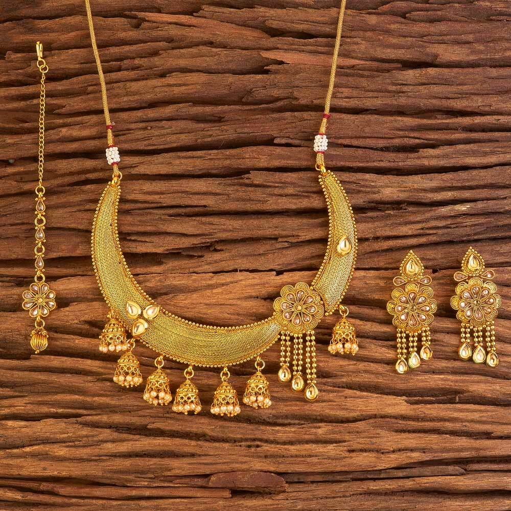 Gold Plated Antique Classic Necklace Set In Wholesale 17579 Lct