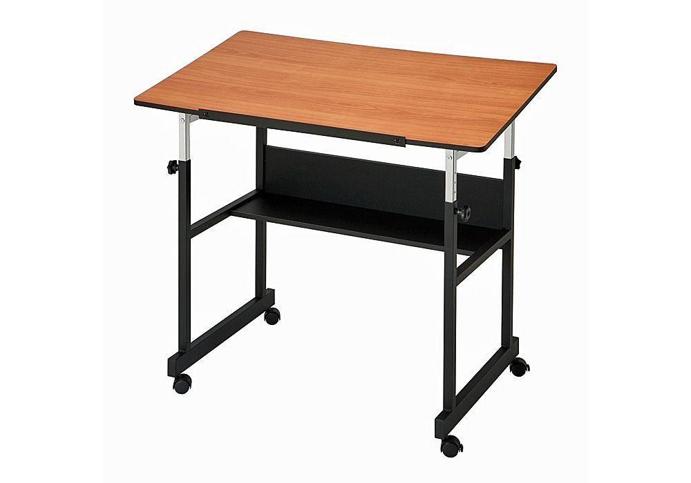 "MiniMaster II Four-Post White Drafting Table Dimensions: 40""W x 24""D x 29-41""H Weight: 46 lbs Cherry Woodgrain Top/Black Base"