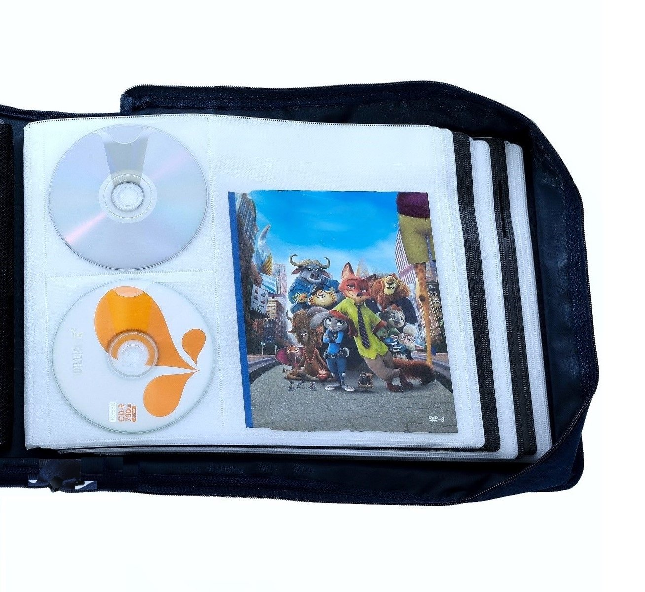 Get Quotations · DVD CD Storage Case With Extra Wide Title Cover Pages For  Blu Ray Movie Music Audio