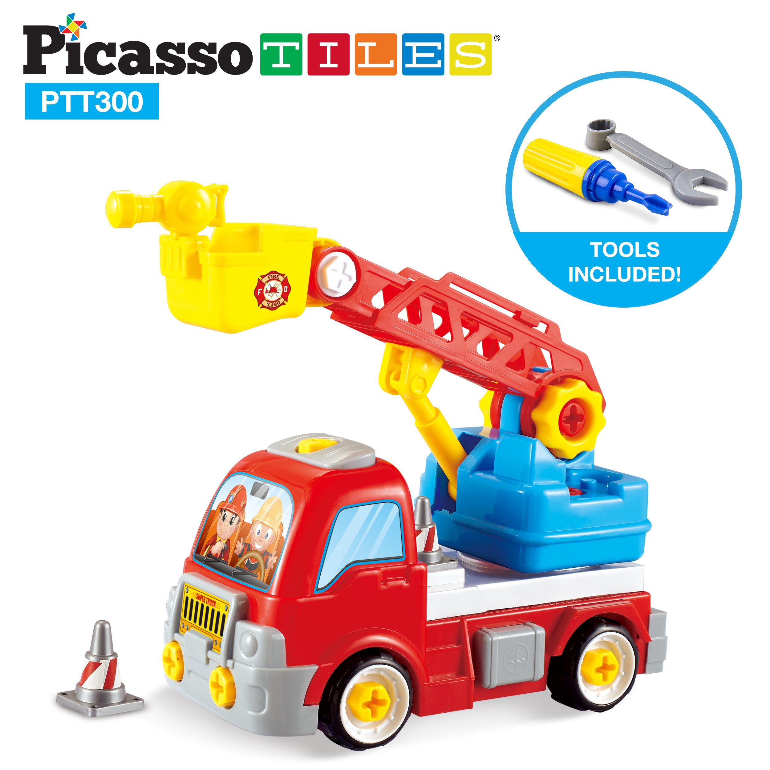 PicassoTiles DIY Construction Fire Truck Toy Car Set Dismantling Take-A-Part Toys Building Kit w/ Extendable 360 Rotating Ladder Safe Child-Size Large Parts, Reversible Screw Driver Nuts Bolts PTT300