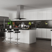 Oppein New Design Modern White PVC Wooden Kitchen Cabinet with Island