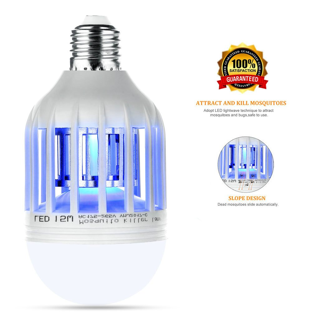 Bug Zapper,Evepoly,Mosquito killer Light Bulb,Pesky bugs,Fly Killer,Trap,Fits in 110v Light Bulb Socket, Perfect for Indoor Home Garden Patio Backyard Frontyard