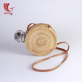 New Item!!! Wholesale rattan bag vietnam with cotton liner and pompom/Straw round rattan bag for summers
