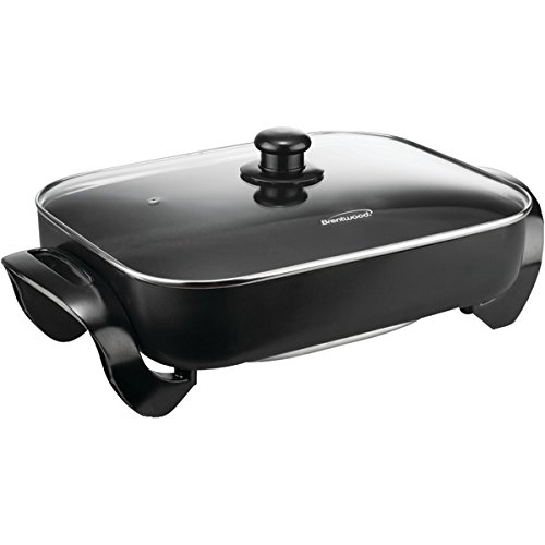 """BRENTWOOD SK-75 Electric Skillet with Glass Lid (1,400W; 16"""");"""