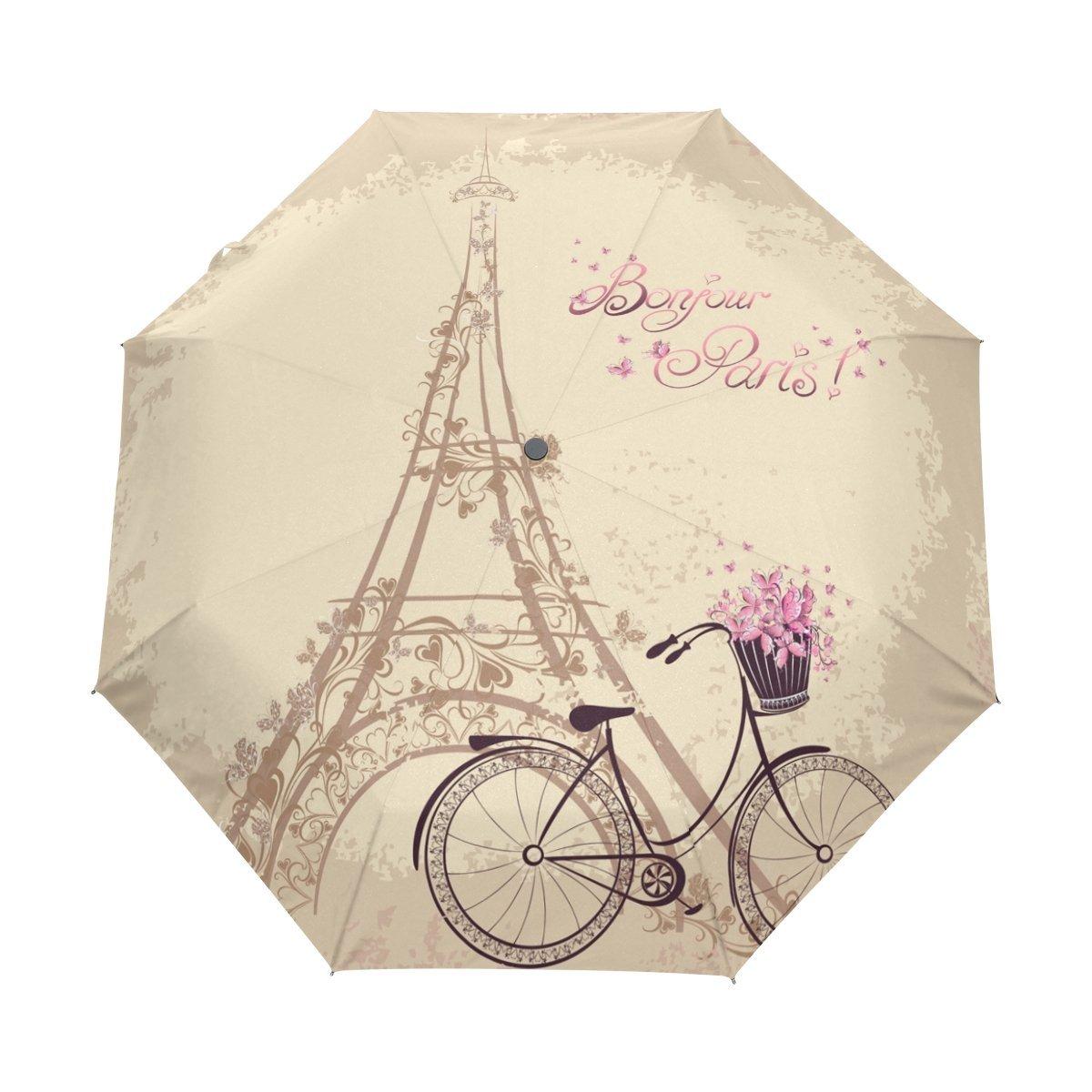 Naanle Romantic Paris Eiffel Tower Bicycle Auto Open Close Foldable Travel Umbrella