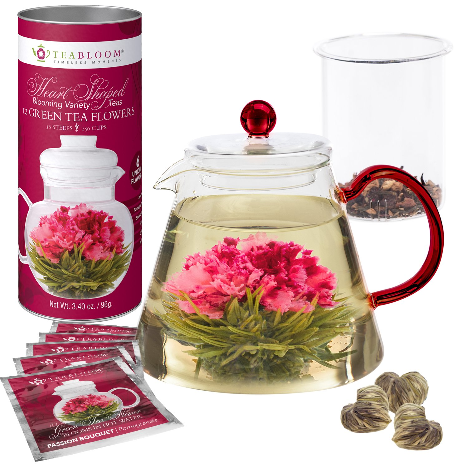 Teabloom AMORE Flowering Tea Gift Set - Stovetop Safe Glass Teapot with Removable Loose Leaf Tea Glass Infuser (34 oz) - 12 Heart-Shaped Blooming Tea Flowers Included