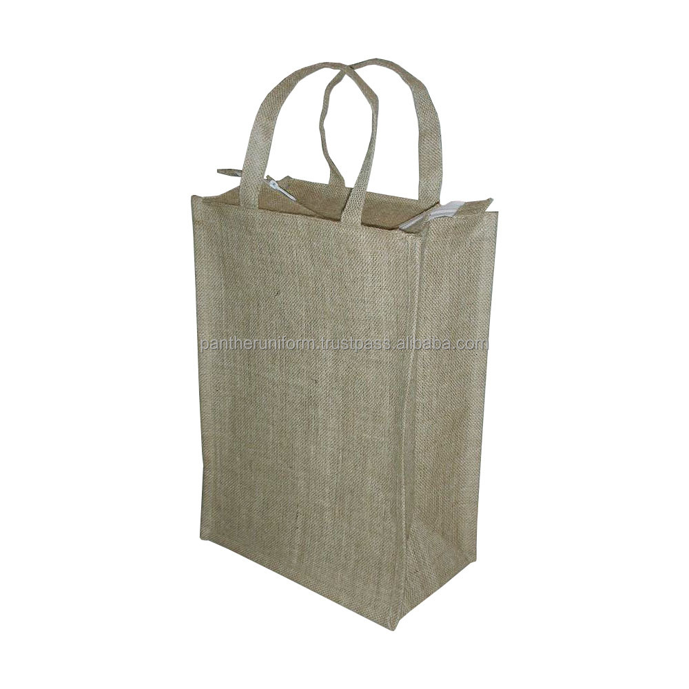 Jute Four Bottle Wine Bag with self handle & with zipper closure