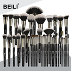 Luxe 40PCS Black Big Powder Foundation Eyeliner Blending Fan Makeup Brush Set Professional Pony Hair Synthetic BEILI Brushes