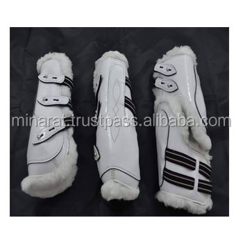 White Fancy Leather horse boot leather boot leather with far