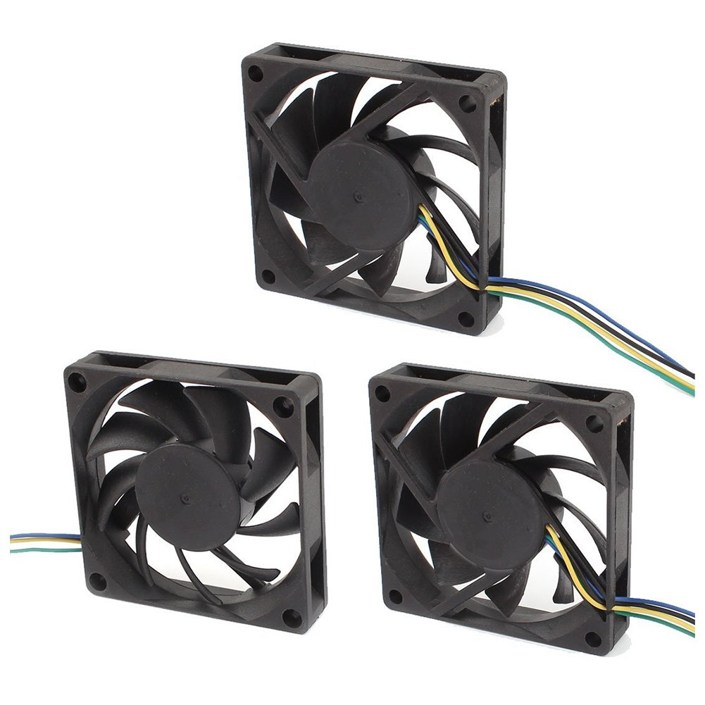 TOOGOO(R) 3Pcs DC12V 0.23A 4P 70mmx15mm Cooling Fan for Computer Case CPU Cooler Radiator