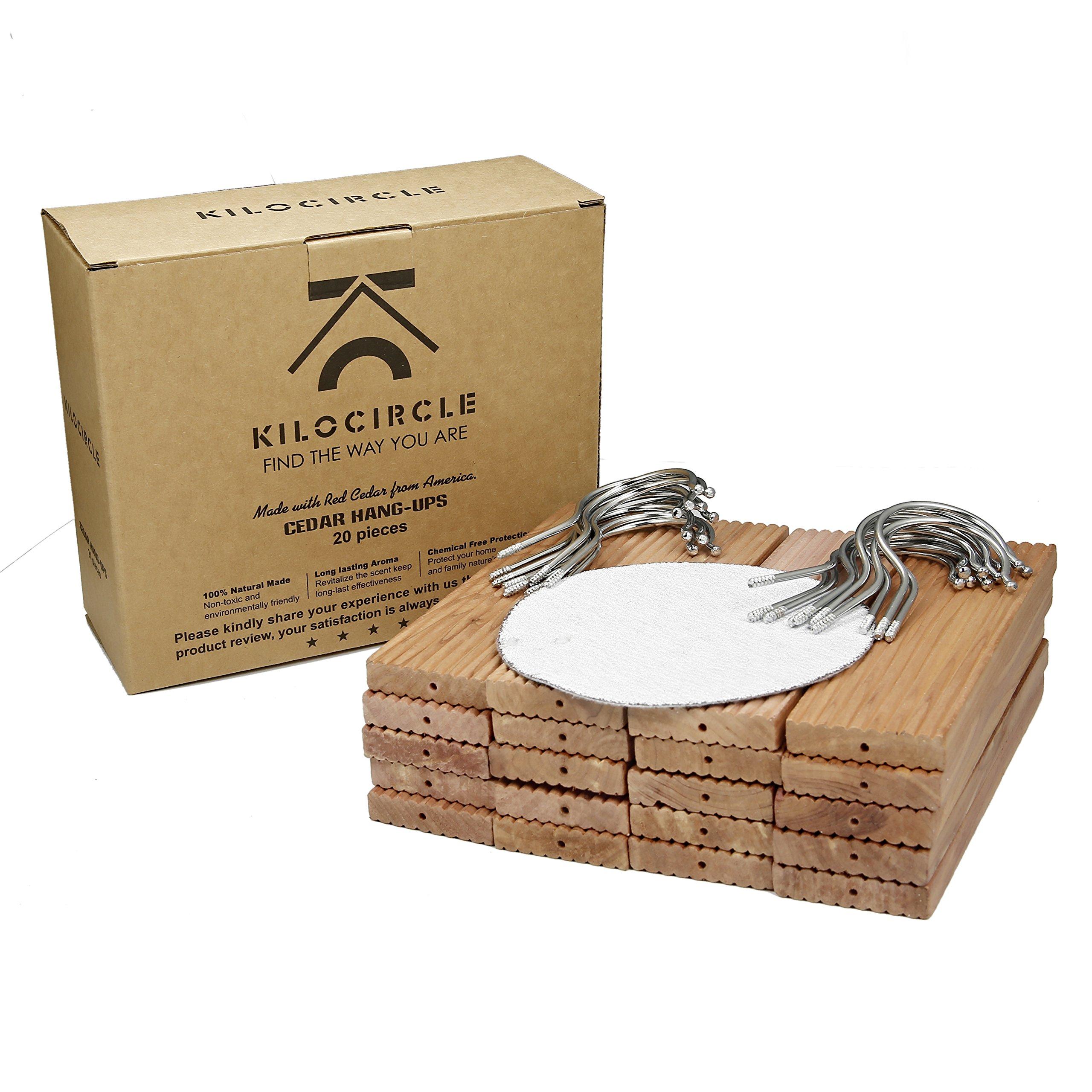 Kilocircle 20 pack cedar hang ups-nature moth repellent for closet with cedar fragrance-standard size 6.5''x1.9''X0.5''