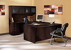 "Mayline U Shaped Desk W/Hutch 72""W X 114""D (Back Of Credenza To Front Of Desk) X 68 5/8""H Includes 1 5/8"" Work Surface, Glass Doors & Distinctive Fluted Edge - Mocha"